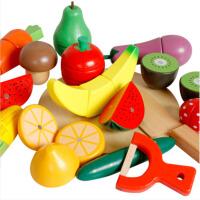 儿童仿真过家家积木制水果蔬菜切切看切切乐磁性切水果玩具