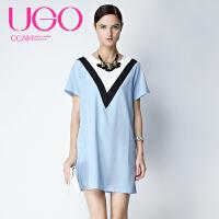 UGOCCAM2017秋装新款女甜美宽松灯笼袖V领套头连衣裙