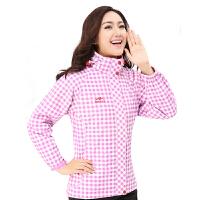 时尚格子红柳冲锋衣 男女两件套登山服 防风保暖滑雪服 紫薇红女款 L
