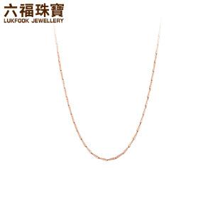 六福珠宝18K金项链百搭款瓜子链女彩金项链素链定价  L18TBKN0004R―L18TBKN0004W