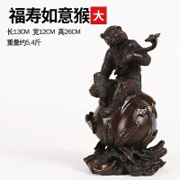 纯铜猴摆件 寿桃猴贺寿拜寿礼品家居风水装饰品生肖猴摆件