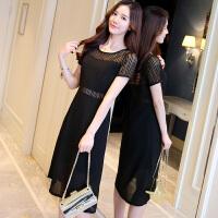 新款黑白条纹连衣裙女2018夏季韩版短袖中长款修身显瘦气质雪纺裙