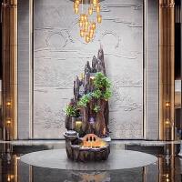 假山流水喷泉摆件室内水景养鱼缸装饰拍品客厅阳台落地风水轮工艺礼品 喷泉+灯光+雾化器