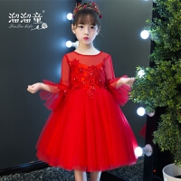 公主裙女童小主持人钢琴演出服花童蓬蓬纱春夏儿童礼服红色喇叭袖