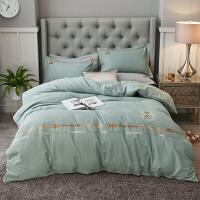 秋冬加厚全棉磨毛四件套双人纯棉绣花床单被套1.8m床上用品