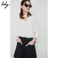 【25折到手价:119.75元】 Lily春夏新款女装时髦简约纯白色V领系带直筒雪纺衫118230C8535