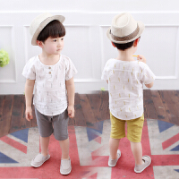 男童棉麻短袖衬衫套装夏季宝宝婴儿童夏装两件套