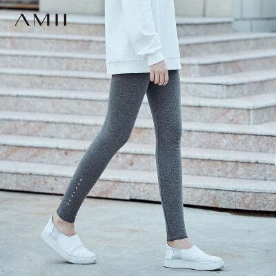 Amii[极简主义]灵感百搭 印花加绒打底裤女 2017冬新弹力修身保暖