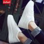 【限时抢购价】Coolmuch女子板鞋轻便简约百搭厚底小白鞋校园女生松糕底休闲板鞋KMJ02S