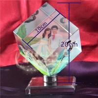 水晶相框摆台旋转 水晶相片定制玻璃摆台8寸照片旋转发光音乐创意相框照片送女朋友 3张照片