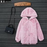 韩版潮学生冬新款獭兔毛皮草外套女短款连帽显瘦仿水貂毛毛绒大衣