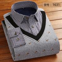棉冬季男士加绒加厚保暖衬衫假两件格子中年爸爸装针织衫大码 3X