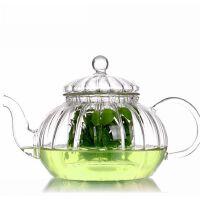 红兔子 耐热过滤玻璃茶壶套装 功夫茶具南瓜条纹壶 600ML