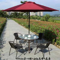 户外桌椅铁艺咖啡室外组合露天阳台休闲大遮阳伞三五套件家具