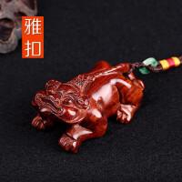 老料小叶紫檀貔貅手把玩件文玩木雕刻挂件红木工艺品摆件 红色