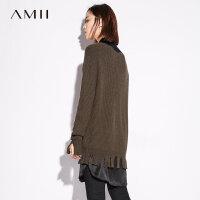 Amii极简气质温柔圆领毛衣女秋冬撕裂下摆落肩袖套头中长上衣