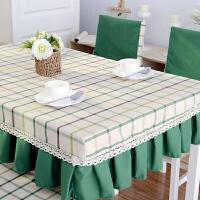 桌布布艺餐桌罩桌套椅套套装 色织棉麻长方形圆桌茶几盖布定做