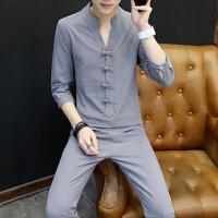 夏季仿亚麻休闲成套装男士韩版7七分袖T恤中国风潮流衬衫领上衣服 灰色 QC66