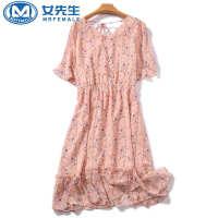 【年货节 直降到底】2020夏季新款雪纺短袖休闲连衣裙碎花荷叶边女裙大码女装