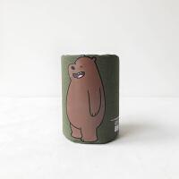 创意时尚笔筒韩国小清新学生办公多功能桌面收纳盒可爱裸熊笔筒 军绿色 裸熊