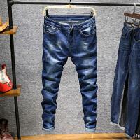 夏季男士牛仔裤男修身小脚弹力裤休闲潮流百搭薄款青年长裤子 蓝色