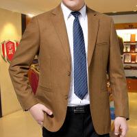 中年男装秋季外套新款商务休闲羊毛西装单件西服上衣 金色 6838