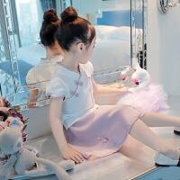 女童夏装套装2018夏季新款唐装裙古风汉服儿童旗袍裙中国风两件套