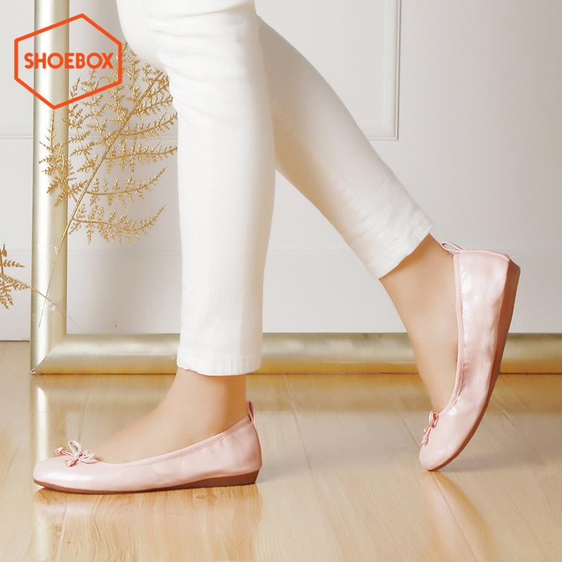 达芙妮旗下shoebox鞋柜蛋卷女鞋 浅口套脚甜美平底单鞋
