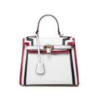 七夕礼物新款PU皮女士曼谷包红绿黑条纹时尚女式手提包商务小号女包