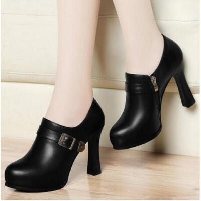 古奇天伦春季新款防水台百搭黑色工作皮鞋粗跟单鞋高跟女鞋子NB8155 品质保证 货到付款