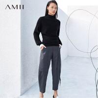 【折后价:352元/再叠优惠券】Amii极简chic休闲裤2019春季新款设计师高定系列纯羊毛九分萝卜裤