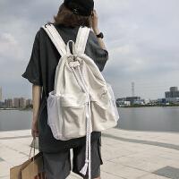 工装背包男潮嘻哈书包潮日系帆布简约女双肩包大容量