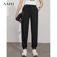 Amii极简运动风抽绳休闲裤女2021夏新款黑色显高显瘦束脚九分裤子