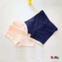女童打底裤夏季短裤女宝宝防走光安全裤子韩版拼蕾丝边儿童五分裤