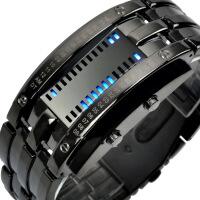 20180323115930376AOTU 韩版二进制LED手表男士钨钢情侣钢带表