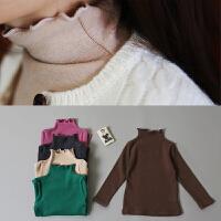 韩国女童装纯棉长袖半高领T恤打底衫秋冬新款韩版儿童打底衫上衣
