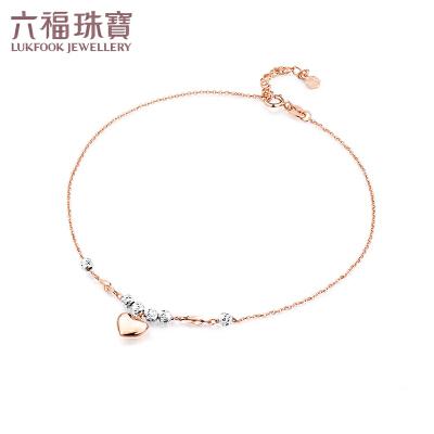 六福珠宝圆珠心形18K金脚链脚饰 定价 L18TBKB0029D支持使用礼品卡