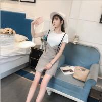 背带短裤女夏2018新款韩版显瘦高腰格子吊带裤阔腿连体裤两件套女 白T恤+卡其短裤 一套 S 85-90斤