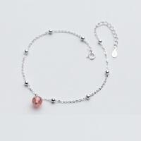 红豆生南国草莓晶转运珠银水晶脚链| 链长20.5+3厘米