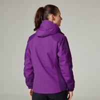 杜嘎地户外冬季情侣抓绒两件套三合一冲锋衣女款可拆卸男加绒登山服 紫色 女式