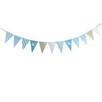 儿童派对百天周岁生日场景布置party装饰拉条三角旗彩旗木马彩旗