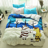 棉卡通床上四件套棉1.5m儿童被子被罩床单人被套4三件套床笠