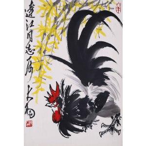 著名大写意花鸟画大师,书法家、篆刻家  陈大羽   《大吉图》