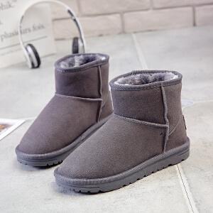 环球2017冬季新款短筒雪地靴女韩版百搭棉鞋加绒保暖学生平底短靴