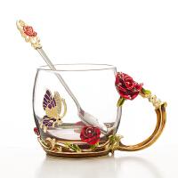 珐琅彩水杯带盖玻璃杯家用花舍玫瑰花茶杯少女心水杯套装杯子