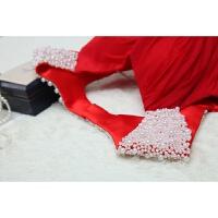 新款婚纱礼服敬酒服性感露背新娘大红长款晚礼服重手工钉珍珠 红色 重手工缝制 高端定制 不退不换