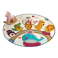 卡通儿童游戏帐篷圆形地毯地垫幼儿园用早教坐垫吊篮转椅垫电脑椅 乳白色 动物世界