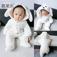 女婴儿衣服0岁3个月5男宝宝长袖哈衣爬服加厚9新生儿连体衣秋冬装