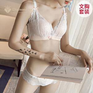 钻石丫丫性感蕾丝边聚拢文胸套装无痕无钢圈内衣加厚款-BC12019-1