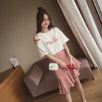 2018夏季新款露肩两件套裙子女夏韩版中长款学生短袖连衣裙
